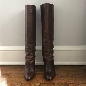 Kenneth Cole tall shaft high heeled leather boots